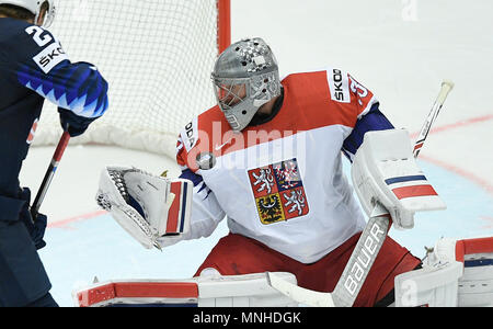Herning, Denmark. 17th May, 2018. Czech goalkeeper Pavel Francouz in action during the Ice Hockey World Championships quarterfinal match USA vs Czech Republic in Herning, Denmark, May 17, 2018. Credit: Ondrej Deml/CTK Photo/Alamy Live News - Stock Photo