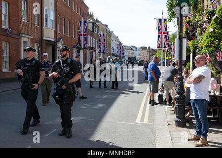 Windsor, UK. 17th May, 2018. Heavily armed police officers on patrol in Park Street, close to the Long Walk, in advance of Saturday's royal wedding between Prince Harry and Meghan Markle. Credit: Mark Kerrison/Alamy Live News - Stock Photo