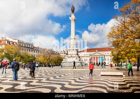 5 March 2018: Lisbon, Portugal - Historic Rossio Square, with the Column of Pedro IV, on a sunny day in early spring. - Stock Photo
