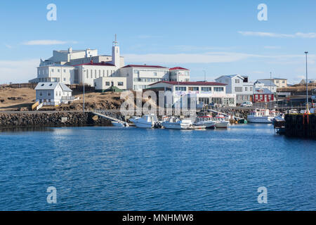 16 April 2018: Stykkisholmur, Snaefellsnes Peninsula, West Iceland - The town and Harbour. - Stock Photo