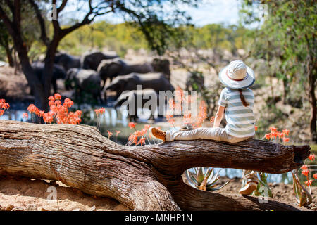 Little girl on African safari vacation enjoying wildlife viewing at watering hole - Stock Photo