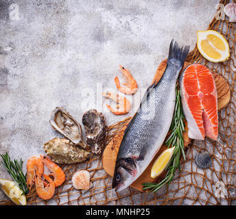 Seafood concept. Fish, shrimps and oysters. - Stock Photo