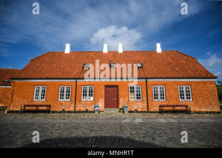 Buildings of Kronborg castle in Denmark, a red brick building. - Stock Photo