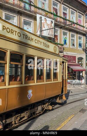 Porto, Portugal - January 15, 2018: Old tram in Porto, Portugal. - Stock Photo