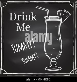 Drink me. Elements on the theme of the restaurant business. Chalk drawing on a blackboard. For cafe or cocktail bar. Cocktail emblem. Thin line icon - - Stock Photo