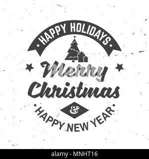 Merry Christmas and Happy New Year retro template with Christmas tree and gifts silhouette. Vector illustration. Xmas design for congratulation cards, - Stock Photo