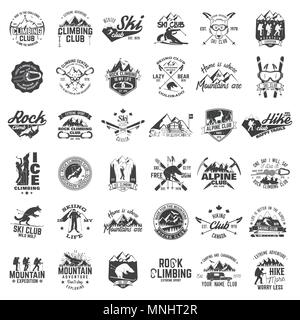Rock and ice climbing,skiing, alpine and hiking club. Vector illustration. Set of vintage badges, labels, logos, silhouettes. Vintage typography colle - Stock Photo