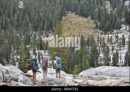Backpackers hike down into Glacier Valley from Grouse Lake Pass on a two-week trek of the Sierra High Route in Kings Canyon National Park in California. The 200-mile route roughly parallels the popular John Muir Trail through the Sierra Nevada Range of California from Kings Canyon National Park to Yosemite National Park. - Stock Photo