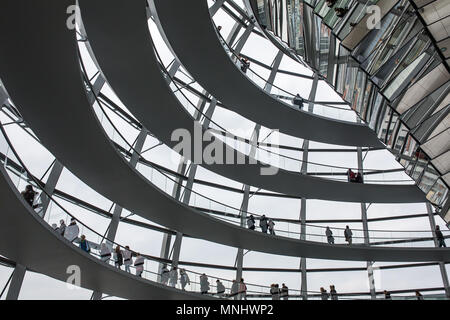 Berlin - December 6, 2017: Inside the glass dome on the roof of the Reichstag in Berlin, Germany - Stock Photo