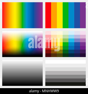 Shade tabs. Set of color gradients, grayscales and saturation spectrums in different gradations from light to dark - work tool for graphic design. - Stock Photo
