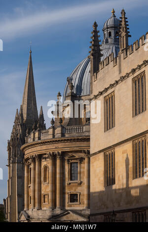 The Old Bodleian Library, Radcliffe Camera and University Church, Oxford, UK - Stock Photo
