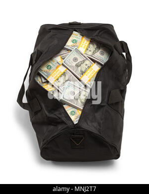 Black Duffel Bag Full of Money Isolated on a White Background. - Stock Photo