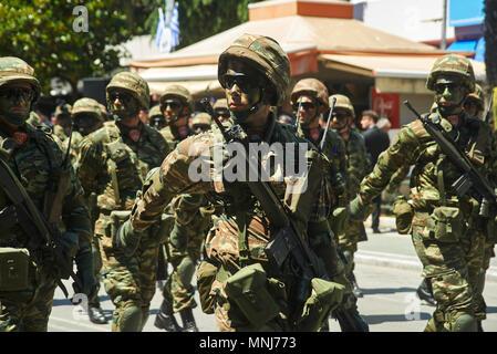 ALEXANDROUPOLI, GREECE-MAY 14, 2018:Greek Special Forces.Selebration Of Alexandroupoli Independence Day Parade. - Stock Photo