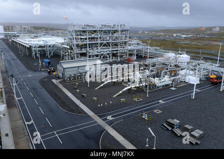 Inside Total Gas Plant in the Shetland isles that supplies gas to the UK from the Laggan Tormore field in the north sea - Stock Photo