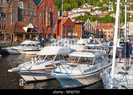 Boats in the city of Bergens marina, Norway - Stock Photo