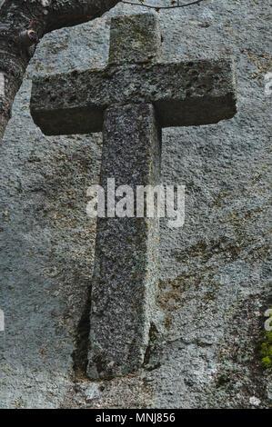 Ancient Cross in Monsanto. Castelo Branco, Portugal - Stock Photo