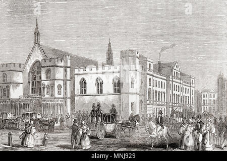 Old Houses of Lords and Commons, Palace of Westminster, London, England, seen here before the fire of 1834.  From Old England: A Pictorial Museum, published 1847. - Stock Photo