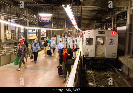 Grand central Subway station, Passengers arriving on a subway train, New York subway, Midtown New York city, USA - Stock Photo