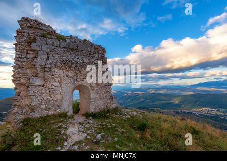 Ruins of Castle Rocca Calascio, Gran Sasso, Abruzzo, Italy - Stock Photo