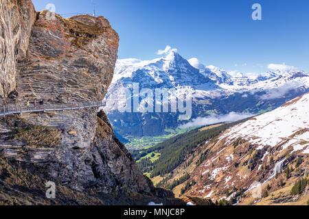 Mountain platform First Cliff Walk by Tissot, Grindelwald, Bernese Oberland, Switzerland - Stock Photo