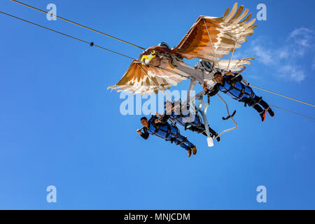 People on the First Glider, First mountain above Grindelwald, Bernese Oberland, Switzerland - Stock Photo