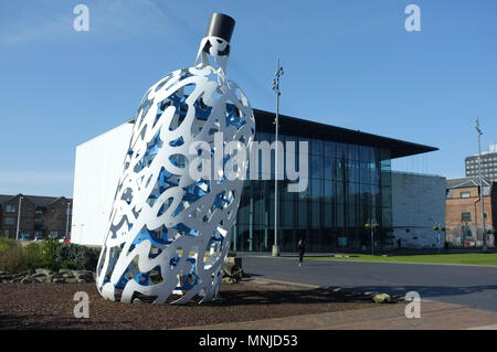 Bottle of Notes (Claes Oldenburg) and Middlesbrough Institute of Modern Art (Mima), Middlesbrough, England, UK, May 2018 - Stock Photo