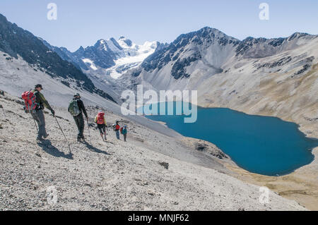 Treking in the Cordillera Real region of the Bolivian Andes. - Stock Photo