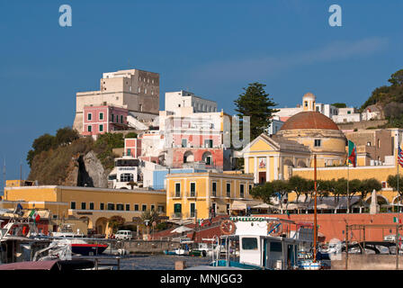 View of Ponza, on the right St Silverio and St Domitilla Church, on the left the Bourbons Tower (today used as hotel), Ponza Island, Lazio, Italy - Stock Photo