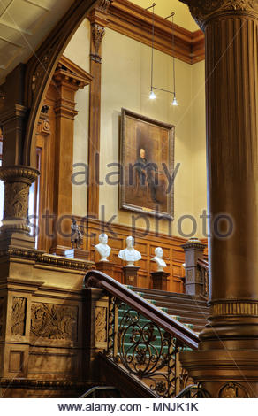 Stairway in the Central hall inside the Ontario Legislative Building. The Ontario Legislative Building houses the viceregal suite of the Lieutenant Go - Stock Photo