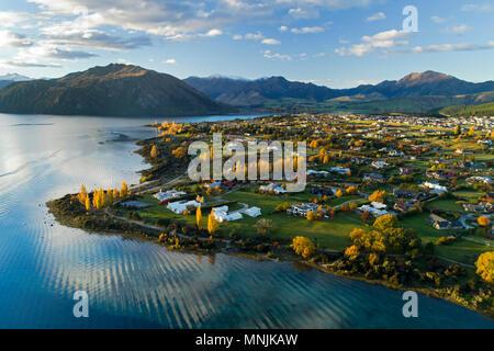 Wanaka and Lake Wanaka in autumn, Otago, South Island, New Zealand - drone aerial - Stock Photo
