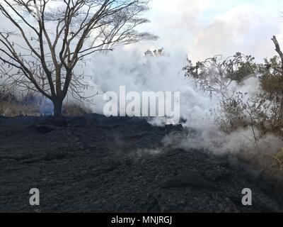 Lava and poisonous sulfur dioxide plumes rise from fissures along the eastern rift caused by the eruption of the Kilauea volcano May 16, 2018 in Pahoa, Hawaii. The recent eruption continues destroying homes, forcing evacuations and spewing lava and poison gas on the Big Island of Hawaii. - Stock Photo