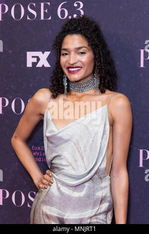 New York, NY - May 17, 2018: Indya Moore wearing dress by Christian Siriano attends FX Pose premiere at Hammerstein Ballroom (Photo by Lev Radin / Pacific Press) - Stock Photo