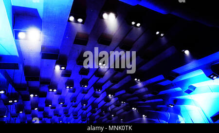 Abstract lights in ceiling Sydney opera house, intentionally blurred with high contrast - Stock Photo