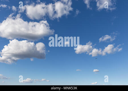 A paraglider flying against a beautiful deep, blue sky, with big white clouds - Stock Photo