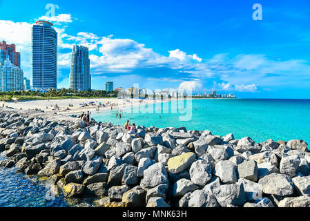 Miami South Beach at sunny summer day at the Caribbean sea, world famous travel location in Florida, USA