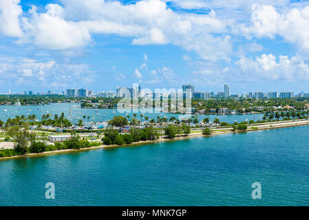 Miami Beach. Aerial view of Rivers and ship canal. Tropical coast of Florida, USA. - Stock Photo