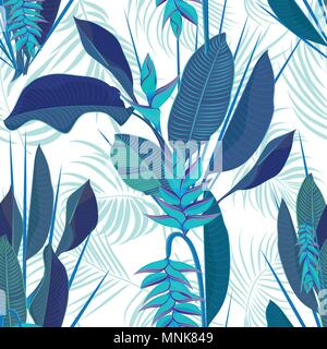 Branch tropical heliconia flower leaves seamless background. Watercolor realistic drawing in flat blue color style. isolated on white background. Vect - Stock Photo