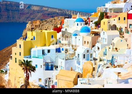 Scenic Oia in Santorini island, Greece - Stock Photo