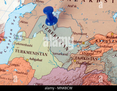 the hague, Netherlands-march 16, 2016: Uzbekistan, officially the Republic of Uzbekistan is a country in Central Asia illustrative, editorial - Stock Photo