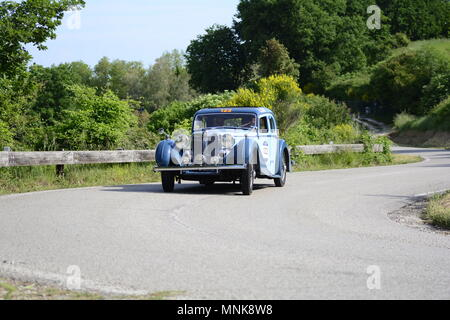 PESARO COLLE SAN BARTOLO , ITALY - MAY 17 - 2018 : MG SA 1938  on an old racing car in rally Mille Miglia 2018 the famous italia - Stock Photo