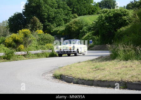 PESARO COLLE SAN BARTOLO , ITALY - MAY 17 - 2018 : LINCOLN CAPRI 1954  on an old racing car in rally Mille Miglia 2018 the famous italia - Stock Photo