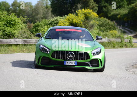 PESARO COLLE SAN BARTOLO , ITALY - MAY 17 - 2018 : Mercedes-AMG GT  on an old racing car in rally Mille Miglia 2018 the famous italia - Stock Photo