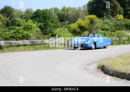 PESARO COLLE SAN BARTOLO , ITALY - MAY 17 - 2018 : AUTOBLEU 750 1954  on an old racing car in rally Mille Miglia 2018 the famous italia - Stock Photo