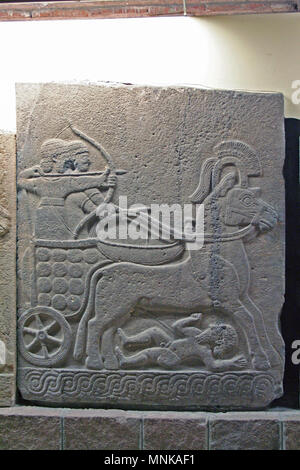 At Ankara, Turkey , On  August/03/2010  - relief with a Hittite War Chariot in the  Museum of Anatolian Civilization, Ankara - Stock Photo