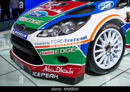 AMSTERDAM - APR 22, 2011: Ford Fiesta RS WRC rally sports car on display during the AutoRAI Motor Show. - Stock Photo