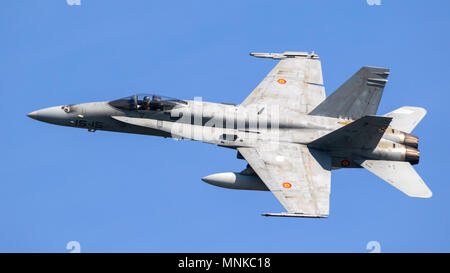 LEEUWARDEN, NETHERLANDS - APRIL 19, 2018: Spanish Air Force Boeing F/A-18 Hornet fighter jet plane taking off during the exercise Frisian Flag. - Stock Photo