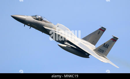 LEEUWARDEN, NETHERLANDS - APR 19, 2018: US Air Force F-15 Eagle fighter jet plane taking off during exercise Frisian Flag. - Stock Photo