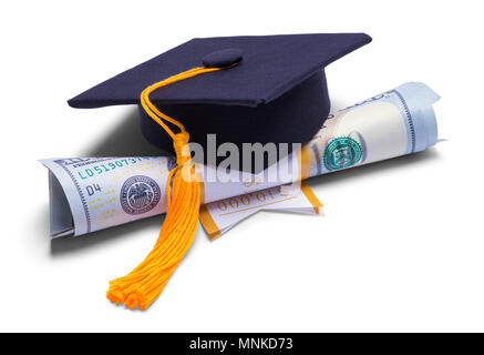 Morter Board Hat with Money Degree Isolated on White Background. - Stock Photo