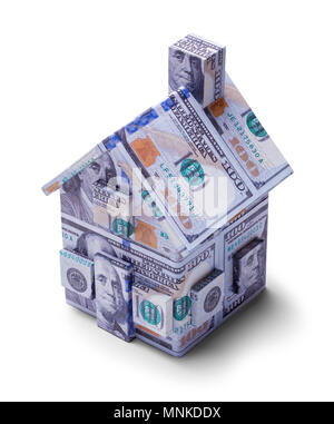 House Covered on One Hundred Dollar Bills Isolated on a White Background. - Stock Photo