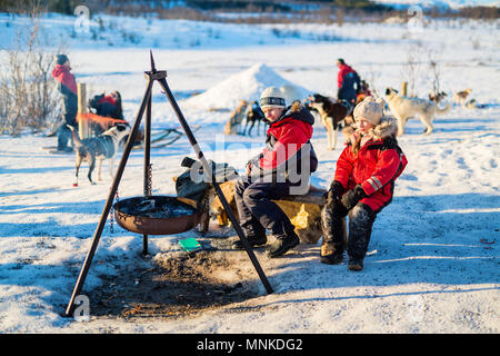 Adorable little girl and cute boy outdoors on beautiful winter day having fun visiting husky farm - Stock Photo